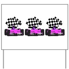 Girly Pink Race Car with Checkered Flag Yard Sign