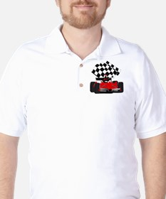 Red Race Car with Checkered Flag Golf Shirt