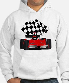 Red Race Car with Checkered Flag Hoodie