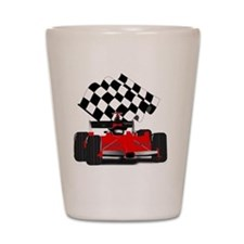 Red Race Car with Checkered Flag Shot Glass