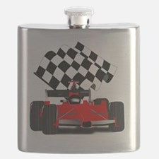 Red Race Car with Checkered Flag Flask