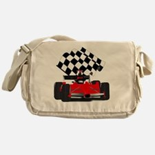 Red Race Car with Checkered Flag Messenger Bag