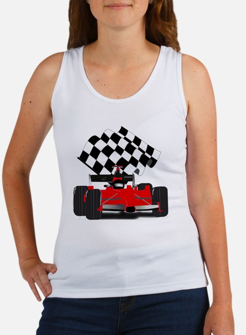 Red Race Car with Checkered Flag Women's Tank Top