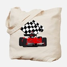 Red Race Car with Checkered Flag Tote Bag