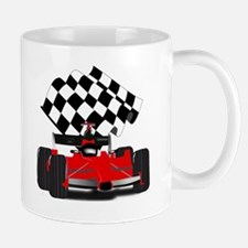 Red Race Car with Checkered Flag Mug