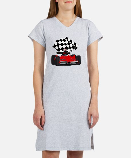 Red Race Car with Checkered Fla Women's Nightshirt