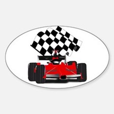 Red Race Car with Checkered Flag Decal