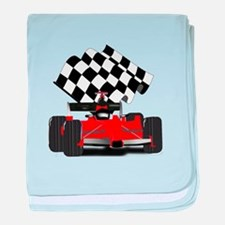 Red Race Car with Checkered Flag baby blanket