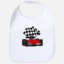 Red Race Car with Checkered Flag Bib