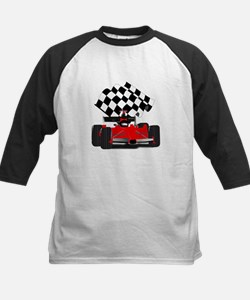 Red Race Car with Checkered Flag Baseball Jersey