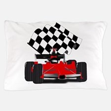 Red Race Car with Checkered Flag Pillow Case