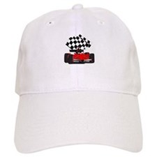 Red Race Car with Checkered Flag Baseball Cap