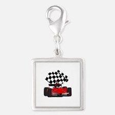 Red Race Car with Checkered Flag Charms