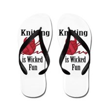 Knitting Is Wicked Fun (centered) Flip Flops