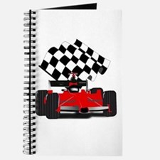Red Race Car with Checkered Flag Journal