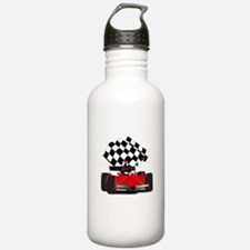 Red Race Car with Chec Water Bottle