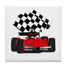 Red Race Car with Checkered Flag Tile Coaster