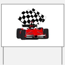 Red Race Car with Checkered Flag Yard Sign