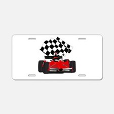Red Race Car with Checkered Aluminum License Plate