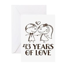 43rd Anniversary chalk couple Greeting Card