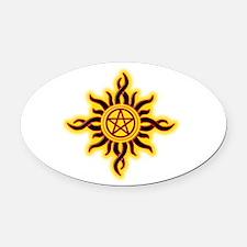 Sun Fire Pentacle Oval Car Magnet