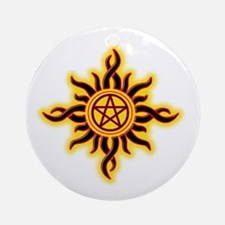 Sun Fire Pentacle Round Ornament