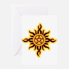 Sun Fire Pentacle Greeting Cards