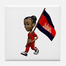 Cambodia Girl Tile Coaster