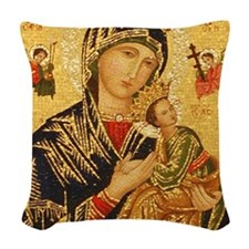 Our Lady of Perpetual Help Woven Throw Pillow