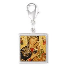 Our Lady of Perpetual Help Silver Square Charm