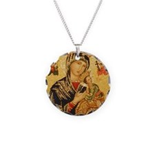 Our Lady of Perpetual Help Necklace Circle Charm