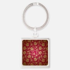 Gold And Maroon Red Vintage Floral Damas Keychains