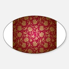 Gold And Maroon Red Vintage Floral Damasks Decal