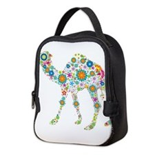 Colorful Retro Floral Camel Neoprene Lunch Bag