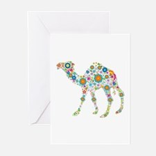 Colorful Retro Floral Camel Greeting Cards