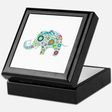 Colorful Retro Floral Elephant Keepsake Box
