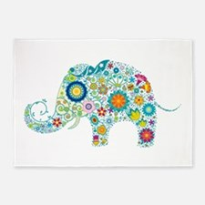 Colorful Retro Floral Elephant 5'x7'Area Rug