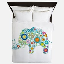 Colorful Retro Floral Elephant Queen Duvet