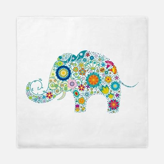 Colorful Retro Floral Elephant Queen Duvet