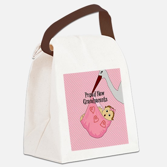 Proud New Grandparents - Pink Canvas Lunch Bag
