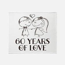 60th Anniversary chalk couple Throw Blanket