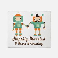 9th Anniversary Vintage Robot Couple Throw Blanket