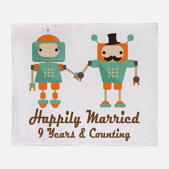 9th Anniversary Vintage Robot Couple Throw Blanket