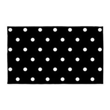 BLACK AND WHITE Polka Dots Area Rug