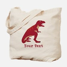 Red T-Rex Dinosaur with Custom text Tote Bag