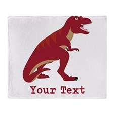 Red T-Rex Dinosaur with Custom text Throw Blanket