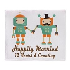 12th Anniversary Vintage Robot Coupl Throw Blanket