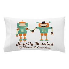 12th Anniversary Vintage Robot Coupl Pillow Case