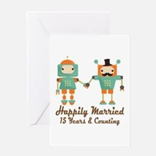 15th Anniversary Vintage Robot Coupl Greeting Card