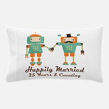 25th Anniversary Vintage Robot Couple Pillow Case